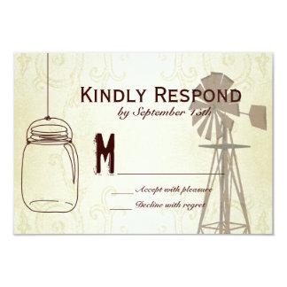 Mason Jar Windmill CountryWedding RSVP Cards