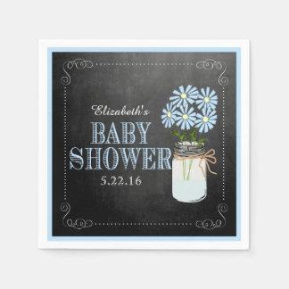 Mason Jar With Blue Flowers Baby Shower Paper Napkin