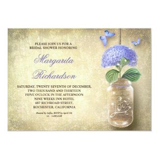 mason jar with blue flowers-bridal shower invites