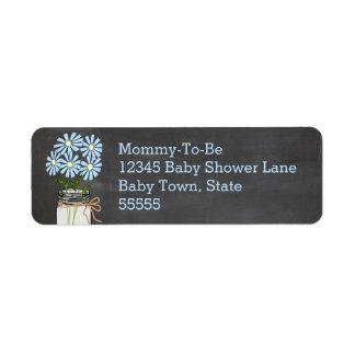 Mason Jar with Blue Flowers Chalkboard Look Label