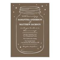 Mason Jar with Fireflies Wedding Invitation  Brown
