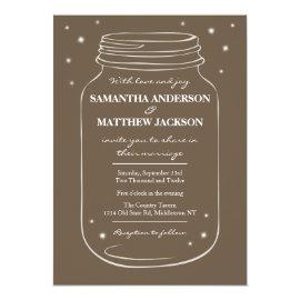 Mason Jar with Fireflies Wedding Invitation  Brown 5