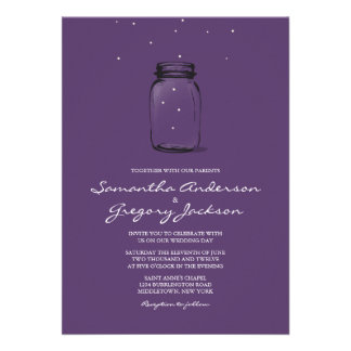 Mason Jar with Fireflies Wedding Invitation Purple