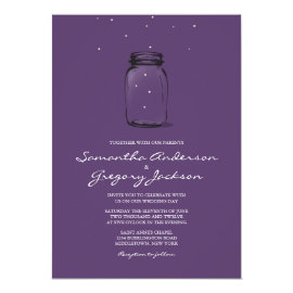Mason Jar with Fireflies Wedding Invitation Purple 5