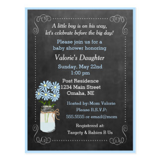 Mason Jar with Flowers Blue Baby Shower Postcard