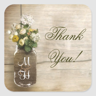 mason jar with flowers thank you stickers