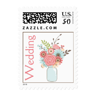 Mason Jar with Flowers Wedding Stamp