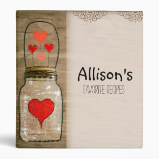 Mason Jar with Hearts Favorite Recipe Binder
