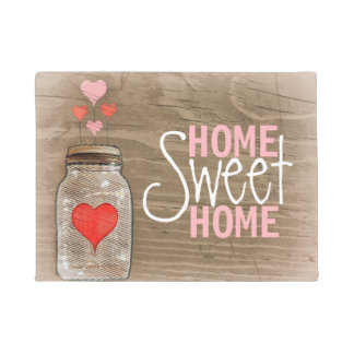 Mason Jar With Hearts Rustic Doormat