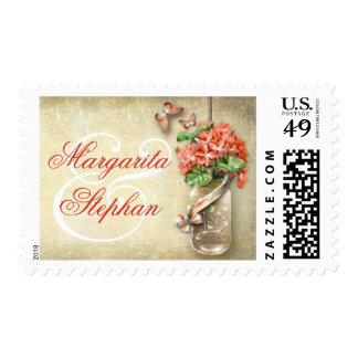 mason jar with orange flowers beautiful stamps