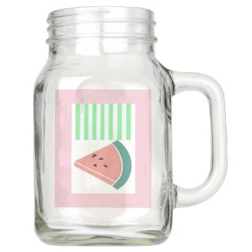 USA Themed Mason Jar With Pink, Mint Watermelon Graphic Art