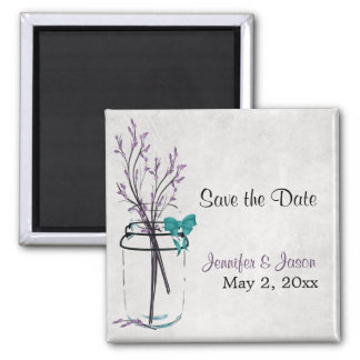 Mason Jar with Purple Branches - Save the Date 2 Inch Square Magnet