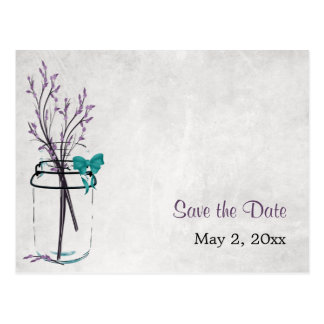 Mason Jar with Purple Branches - Save the Date Postcard