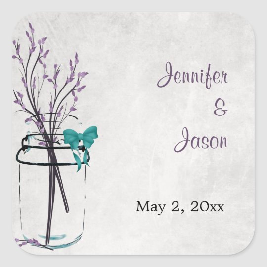Mason Jar with Purple Branches - Save the Date Square Sticker