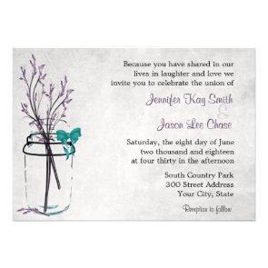 Mason Jar with Purple Branches Wedding Invitations