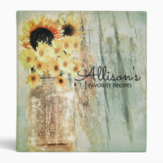 Mason Jar with Sunflowers Binder