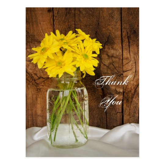 Mason Jar Yellow Daisies Country Wedding Thank You Postcard