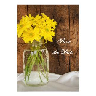 Mason Jar Yellow Daisies Sweet 16 Save the Date 5x7 Paper Invitation Card