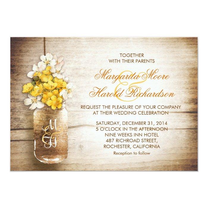 Together With Their Parents Wedding Invitation: Mason Jar & Yellow White Flowers Wedding Invites