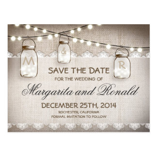 Mason Jars and burlap Lace Save the Date Postcard