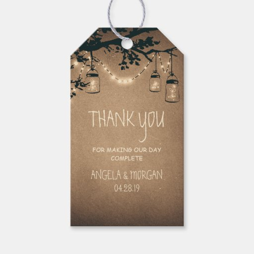 Rustic Wedding Gift Tags : Mason Jars and Fireflies Rustic Wedding Gift Tags Zazzle