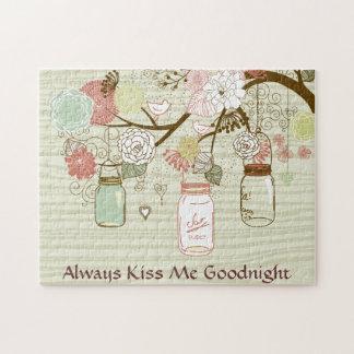 Mason Jars and Flowers - Always Kiss Me Goodnight Jigsaw Puzzle