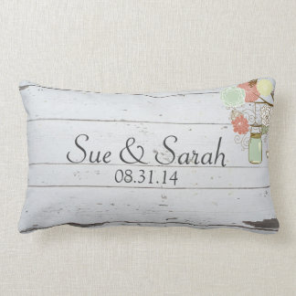 Mason Jars and Flowers Wedding Gift Lumbar Pillow