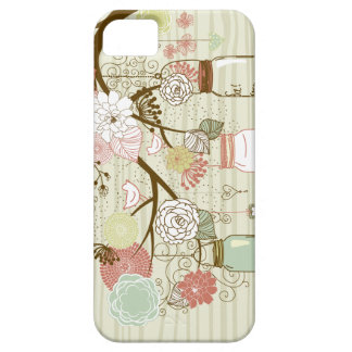 Mason Jars and Flowers with wood background iPhone 5 Covers