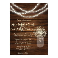Mason jars and lights rustic wedding invitations
