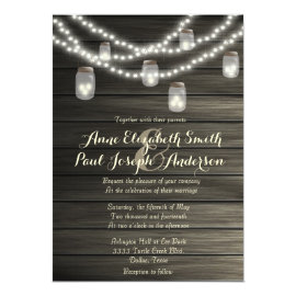 Mason jars and lights rustic wedding invitations 5