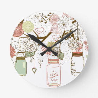 Mason Jars and Pretty Flowers Wall Clocks