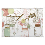 Mason Jars and Pretty Flowers Cloth Placemat