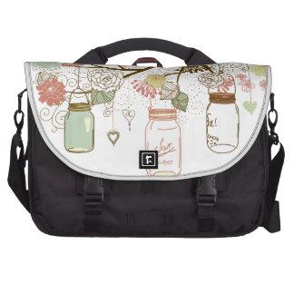 Mason Jars and Pretty Flowers Computer Bag