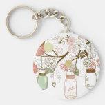 Mason Jars and Pretty Flowers Keychain