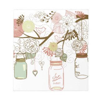 Mason Jars and Pretty Flowers Notepad