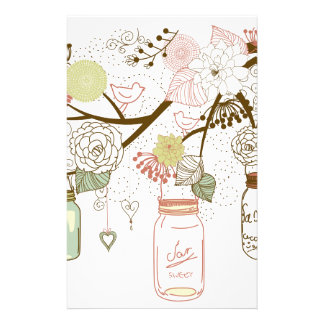 Mason Jars and Pretty Flowers Personalized Stationery