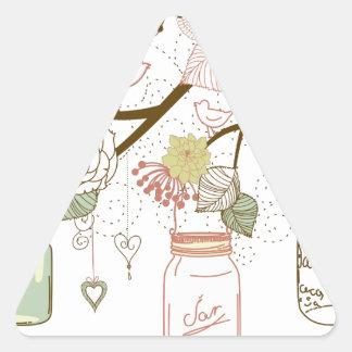 Mason Jars and Pretty Flowers Triangle Sticker
