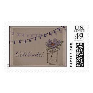 Mason Jars and String Light Vintage Wedding Stamp