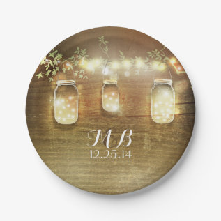 Mason Jars And String Lights Rustic Paper Plate at Zazzle