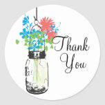 Mason Jars and Wildflowers Thank You Stickers