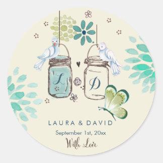 Mason Jars Garden Wedding   Circle Sticker