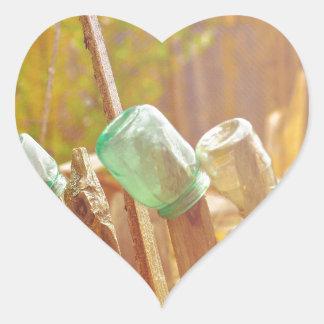 Mason jars heart sticker