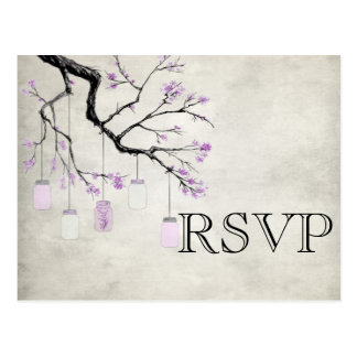 Mason Jars in Lavender Wedding RSVP Card