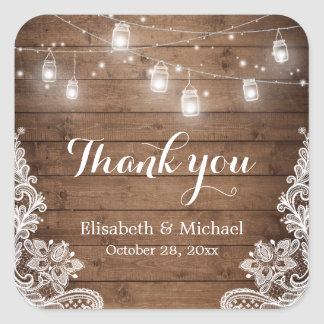 Mason Jars Lights Lace Rustic Wood Thank You Square Sticker