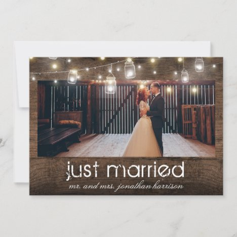 Mason Jars Lights Photo Just Married Reception Announcement