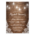 Mason Jars Lights Rustic Wood Lace Bridal Shower Card at Zazzle