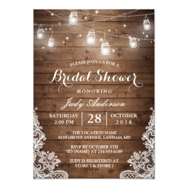CardHunter Mason Jars Lights Rustic Wood Lace Bridal Shower Card
