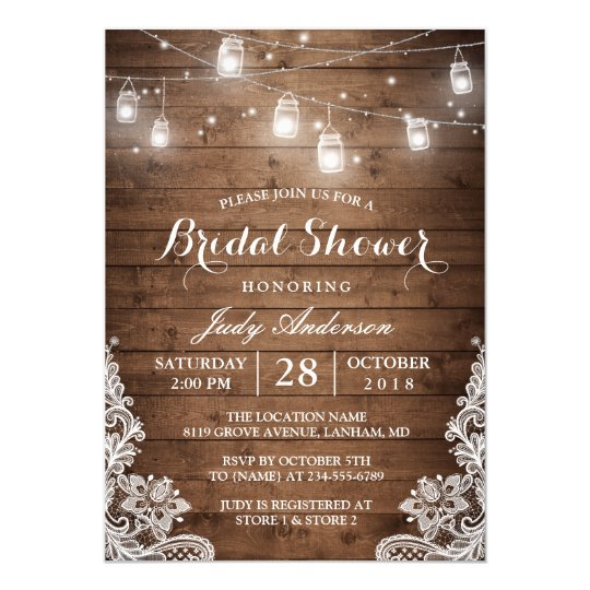 mason jars lights rustic wood lace bridal shower card | zazzle, Wedding invitations