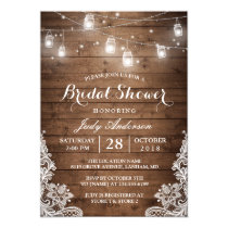 Mason Jars Lights Rustic Wood Lace Bridal Shower Invitation