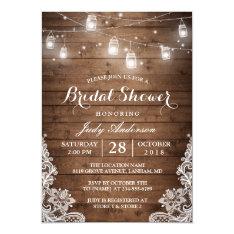 Mason Jars Lights Rustic Wood Lace Bridal Shower Invitation at Zazzle